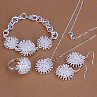 Fashion White Silver Plated (Necklaces&Bracelets&Ring&Earrings) Silver Jewelry Set