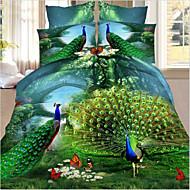 Four Piece 3D Peafowl Pattern Full Duvet Cover Sets