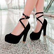 נעלי נשים - בלרינה\עקבים - דמוי עור - עקבים / מעוגל - שחור / כחול / ורוד / בז' - שמלה - עקב עבה