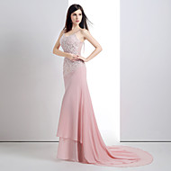 Formal Evening Dress - Candy Pink Trumpet/Mermaid Scoop Court Train Chiffon/Lace/Satin/Tulle