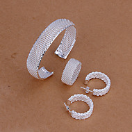 Cute White Silver Plated (Necklaces&Earrings&Ring) Silver Jewelry Sets