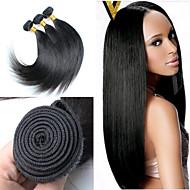 צבע 8inch-30inch 3pcs / הרבה ברזילאי שיער (שחורה טבעי) שיער חלק