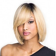 Capless Mix-Color(Gray&Blonde) Side Bang Short Straight Synthetic Hair Wigs