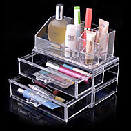 3 opbevaring klar akryl transparent make up box arrangør kosmetiske montre