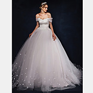 Ball Gown Wedding Dress Sweep / Brush Train Off-the-shoulder Tulle