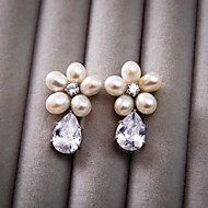 Korean Good Quality Cubic Zirconia And Pearl Flower Style White Color Ear Clip  H0243AJ