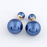 Women's European Concise Fashion Double Side Stud Earrings With Imitation Pearl