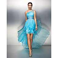 TS Couture® Cocktail Dress Plus Size / Petite Sheath / Column One Shoulder Asymmetrical Chiffon with Crystal Detailing