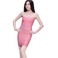 Column Strapless Short/Mini Nylon Taffeta Bandage Dress