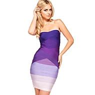 Alice&Elmer Rayon Strapless Gradient Sheath/Column Bandage Dress