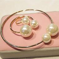 Women Vintage Alloy/Imitation Pearl Bracelets/Rings Sets