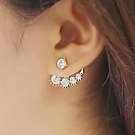 Lucky Doll Women's All Match Imitation Pearl Zirconia dissymmetry Earring