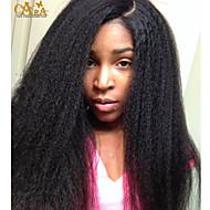 """8 שיער """"-26"""" פרואני שיער בתולת קינקי צבע פאת תחרה מול glueless ישר טבעי שחור תינוק לנשים שחורות"""