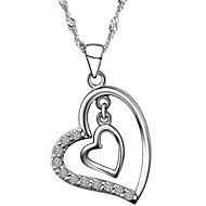925 Silver Hearts Rhinestoe Pendant Necklace