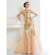 TS Couture Formal Evening Dress - Champagne Trumpet/Mermaid Spaghetti Straps Floor-length Sequined