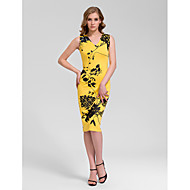 Homecoming Cocktail Party Dress Sheath/Column V-neck Knee-length Cotton