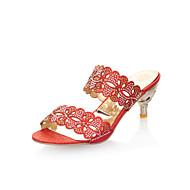 Sandály / Kozačky / Pantofle - Koženka - Otevřená špička - Dámská obuv - Červená / Stříbrná / Zlatá - Šaty - Nízký tenký