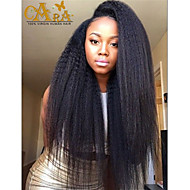 "8""-26"" Peruvian Virgin Hair Kinky Straight Glueless Full Lace Wig Color Black With Baby Hair for Black Women"