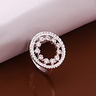 European Style Round Shape Silver Plated Zircon Ring(Silver)(1Pc)