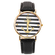 Stripe Anchor PU Leather Band Wristwatch(Black)(1Pcs) Cool Watches Unique Watches