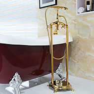 Antique Floor Mounted Handshower Included / Floor Standing with  Ceramic Valve Two Handles Two Holes for  Ti-PVD , Bathtub Faucet