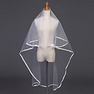 웨딩 면사포 한층 팔꿈치 베일 리본 가장자리 47.24 in (120cm) 명주그물 화이트 / 아이보리