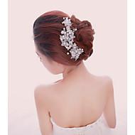 Mulheres Pérola Crostal Liga Capacete-Casamento Ocasião Especial Ao ar LivreBandanas Pentes de Cabelo Flores Alfinete de Cabelo Corrente