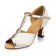 Non Customizable Women's Dance Shoes Latin Flocking Low Heel Ivory