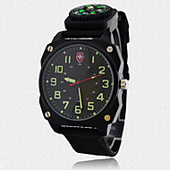 Men's Watch Fabric Nylon Strap Casual Military Wrist Watch with Working Compass