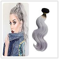 3PCS / 많은 브라질 처녀 머리 바디 웨이브 1B 백금 회색 머리 직조 옴 브레 (1B) 실버 회색 머리 연장 두 톤 컬러