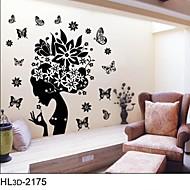 adesivi murali classici nero fiore fata per le ragazze locali zooyoo2175 parede decalcomania della parete del PVC removibile