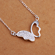 Fashion Butterfly Shape Silver Plated Zircon Pendant Necklace(White)(1Pc)