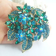Women Accessories Gold-tone Turquoise Rhinestone Crystal Flower Brooch Bouquet Art Deco Women Jewelry