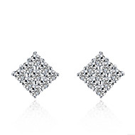 0.25CT/Piece Square Pattern Sterling Silver Stud Earrings Paved SONA Simulate Diamond Engagement Earrings Stud for Women