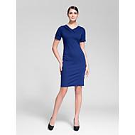 Cocktail Party Dress - Royal Blue Sheath/Column V-neck Knee-length Polyester