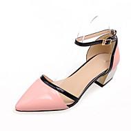 Lodičky - Koženka - Špičatá špička - Dámská obuv - Černá / Růžová / Bílá - Šaty - Nízký podpatek