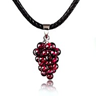 18k gold plated Grape Shape Handmade Unisex/Women's Alloy Necklace With Garnet