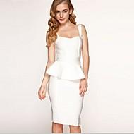 Column Spaghetti Straps Short/Mini Spandex/Nylon/Rayon Evening Celebrity Bandage Dress