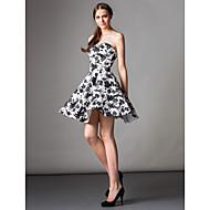 TS 패션 칵테일 파티 드레스 - 라인 끈이없는 무릎 길이 새틴 인쇄