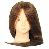 18 Inch Blended Hair Salon Female Mannequin Head No Make-up Color Brown