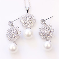 Cotton Tree Women's Alloy/Quartz/ Pearl Gift For Mother Wedding/Party Earring & Necklace Set