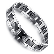 "Mens Tungsten Bracelet, Black & Silver, Crystal 7.9"" kb1541"
