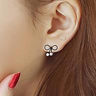 Women's European Style Fashion Small Fresh Bow Imitation Pearl Earrings