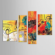 Oil Painting Decoration Abstract  Hand Painted Canvas with Stretched Framed - Set of 4