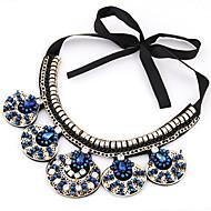 Women's European Style Fashion Collar Maple Leaf Alloy Necklace With Rhinestone