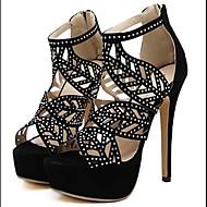 Chaussures Femme - Décontracté - Noir / Beige - Talon Aiguille - Talons / A Plateau / Bout Ouvert - Talons - Similicuir