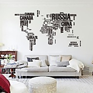 190cm*116cm Large World Map Wall Stickers Original Zooyoo95ab Letters Map Wall Art Bedroom Wall Decals