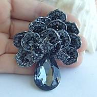 אביזרי נשים תכשיטים שחורים אפורים פרח בדולח ריינסטון סיכת גביש ארט דקו סיכת נשים זר