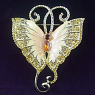 Women Accessories Gold-tone Topaz Rhinestone Crystal Butterfly Brooch Art Deco Insect Brooch
