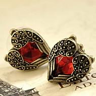 Women's Alloy Stud Earrings With Red Rhinestone